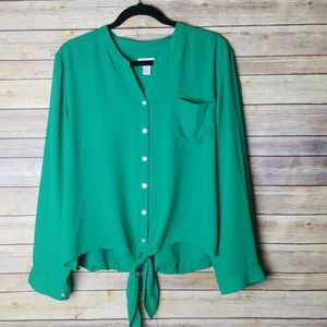 Chico's Collarless Blouse
